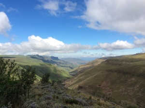 Looking back towards Durban from half way up Sani Pass